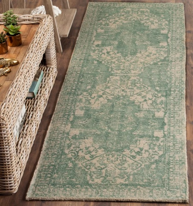 Driffield Hand-Tufted Green/Ivory Area Rug Rug Size: Runner 2'3