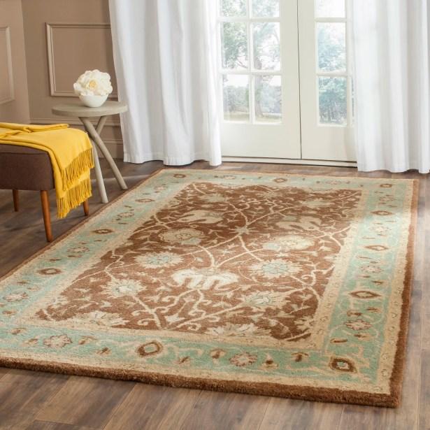 Dunbar Hand-Woven Wool Brown/Green Area Rug Rug Size: Rectangle 5' x 8'
