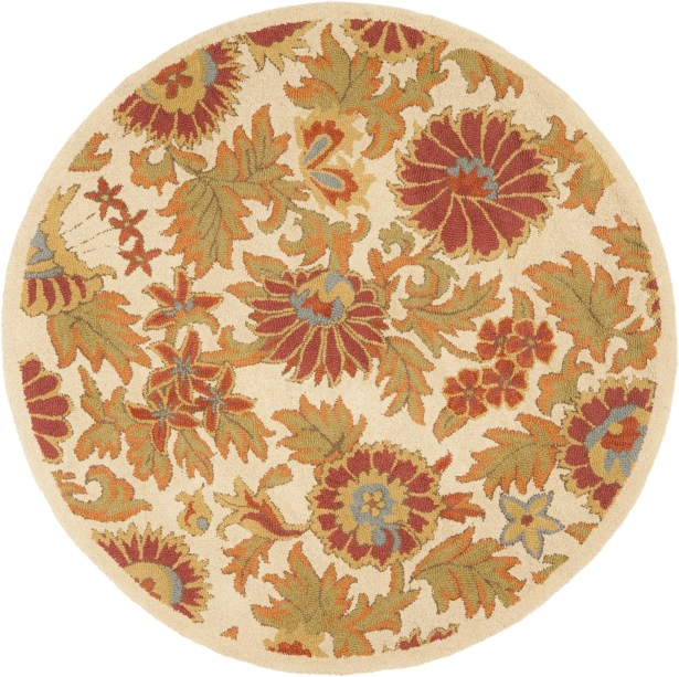 Bradwood Hand-Woven Wool Ivory/Red Area Rug Rug Size: Round 6'