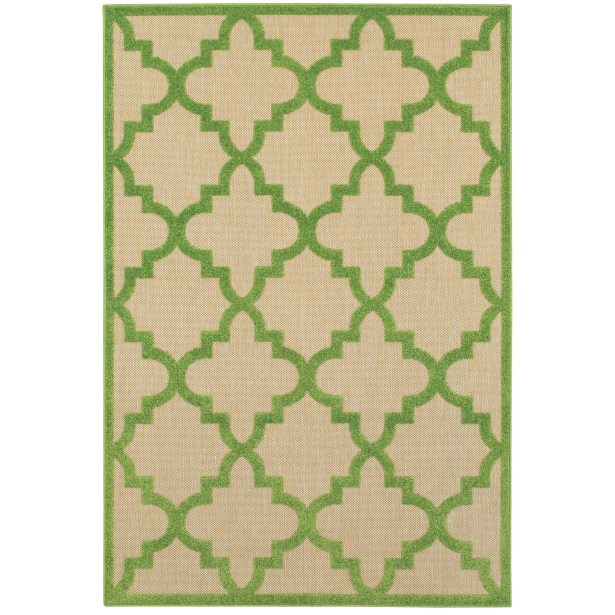 Winchcombe Sand/Green Outdoor Area Rug Rug Size: Rectangle 9'10