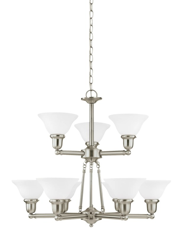 Darmstadt 9-Light Shaded Chandelier Finish: Brushed Nickel, Shade Color: Satin White