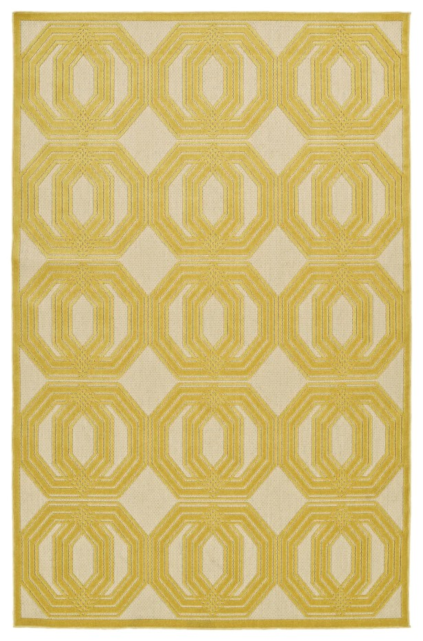 Covedale Gold & Cream Indoor/Outdoor Area Rug Rug Size: Rectangle 5' x 7'6