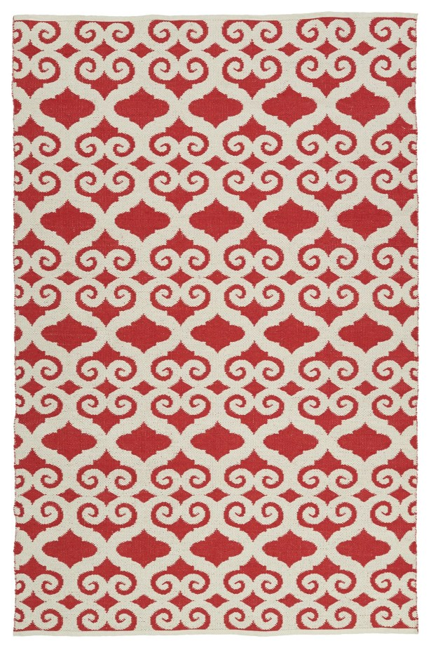 Covington White/Red Indoor/Outdoor Area Rug Rug Size: Rectangle 8' x 10'
