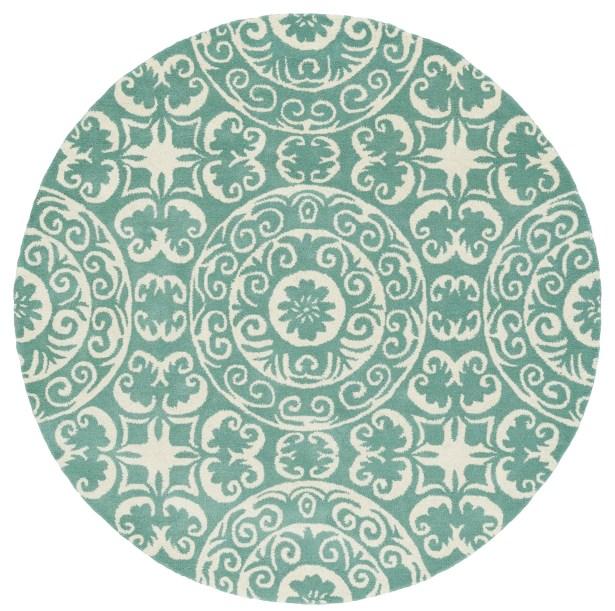 Corine Hand-Tufted Mint / Ivory Area Rug Rug Size: Round 7'9