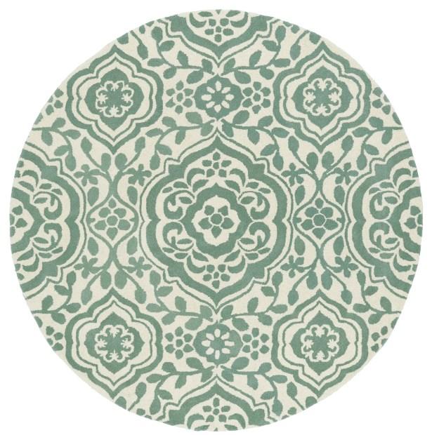 Corine Hand-Tufted  Mint / Ivory Area Rug Rug Size: Round 9'9