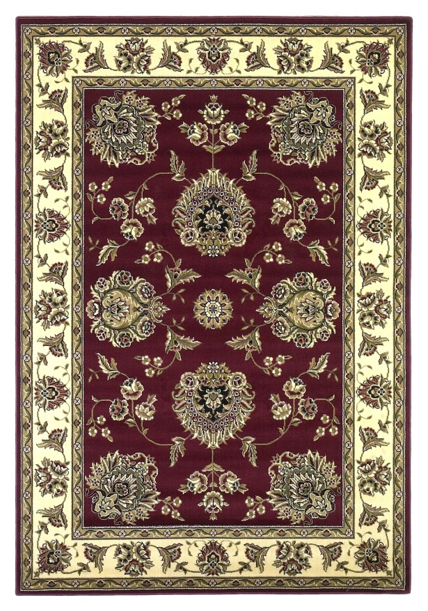 Bellville Red / Ivory Floral Area Rug Rug Size: Round 7'7