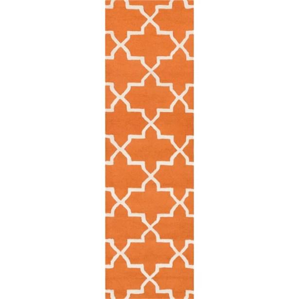 Blaisdell Orange Geometric Keely Area Rug Rug Size: Runner 2'3