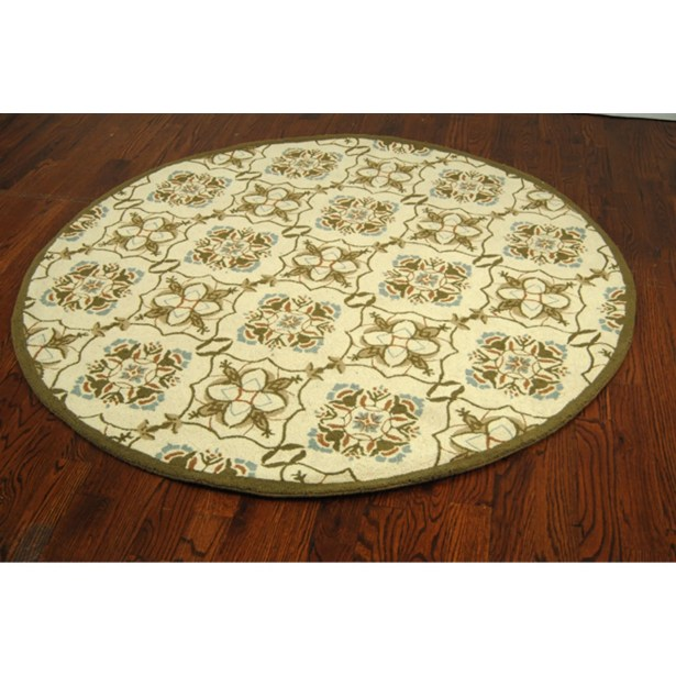 Helena Ivory/Orange Area Rug Rug Size: Round 5'6