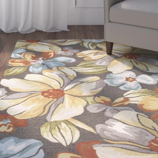 Thornsberry Hand-Tufted Dark Gray/Yellow Area Rug Rug Size: 5' x 7'6