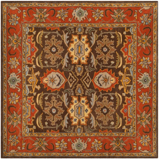 Hebron Brown Area Rug Rug Size: Square 6'