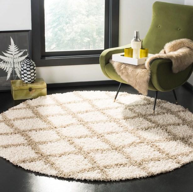 Unadilla Ivory/Beige Area Rug Rug Size: Round 6'