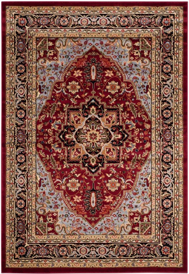 Ottis Mary Red & Black Area Rug Rug Size: Rectangle 5'3