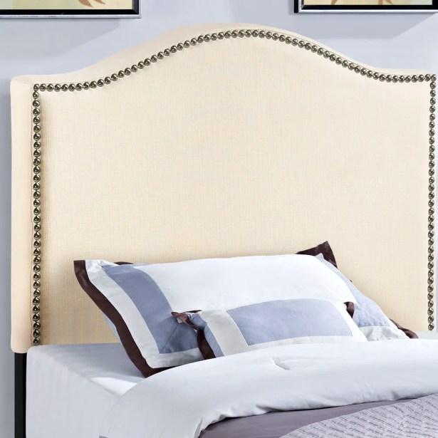 Bransford Curl Upholstered Headboard Upholstery: Ivory, Size: Full