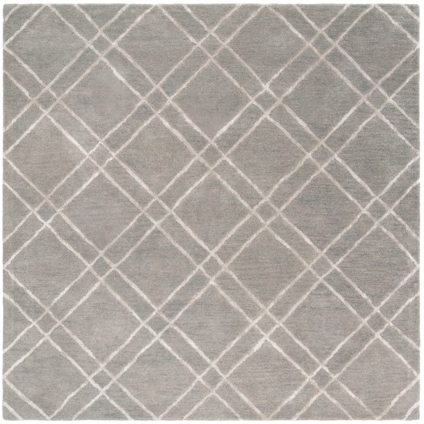 Dirks Hand-Tufted Wool Gray Area Rug Rug Size: Square 6'