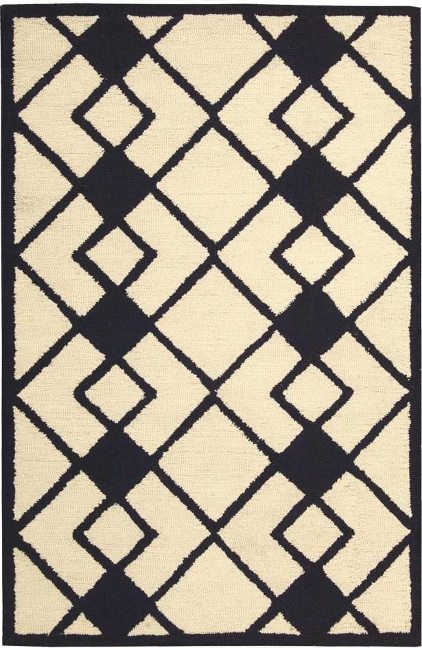 LaGuardia Hand-Tufted Ivory/Navy Area Rug Rug Size: Rectangle 5' x 7'