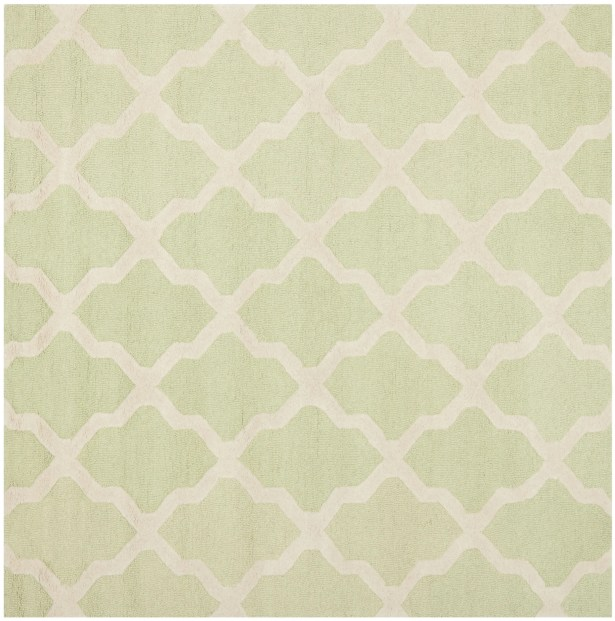 Charlenne Hand-Tufted/Hand-Hooked Light Green/Ivory Area Rug Rug Size: Square 6'