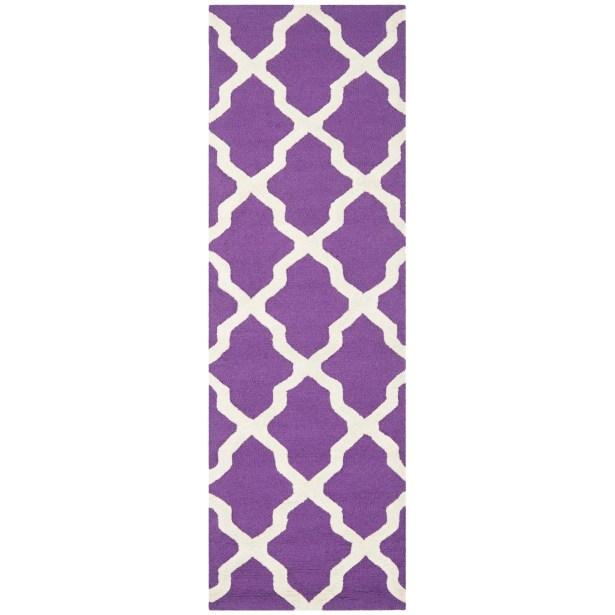 Charlenne Hand-Tufted Purple/Ivory Area Rug Rug Size: Runner 2'6