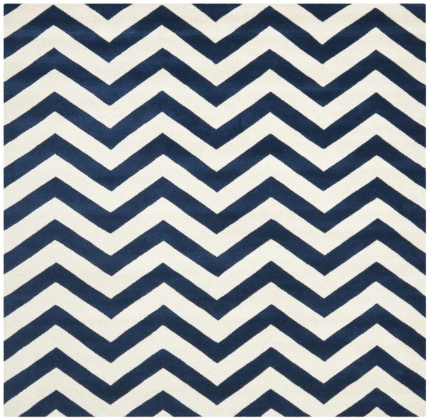 Wilkin Hand Tufted Wool Dark Blue/Ivory Area Rug Rug Size: Square 5'
