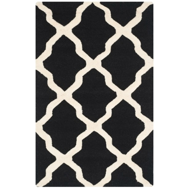 Charlenne Black & Ivory Area Rug Rug Size: Rectangle 11' x 15'