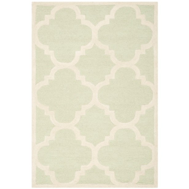 Charlenne Wool Light Green / Ivory Area Rug Rug Size: Rectangle 4' x 6'