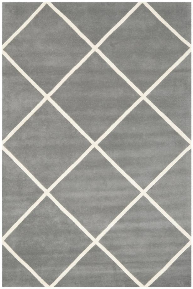 Wilkin Hand-Tufted Wool Dark Gray/Ivory Area Rug Rug Size: Rectangle 3' x 5'