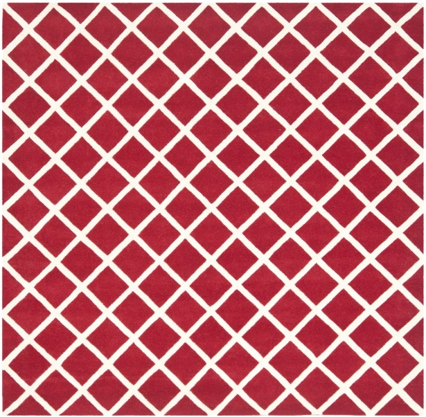 Wilkin Hand-Tufted Red/Ivory Area Rug Rug Size: Square 7'