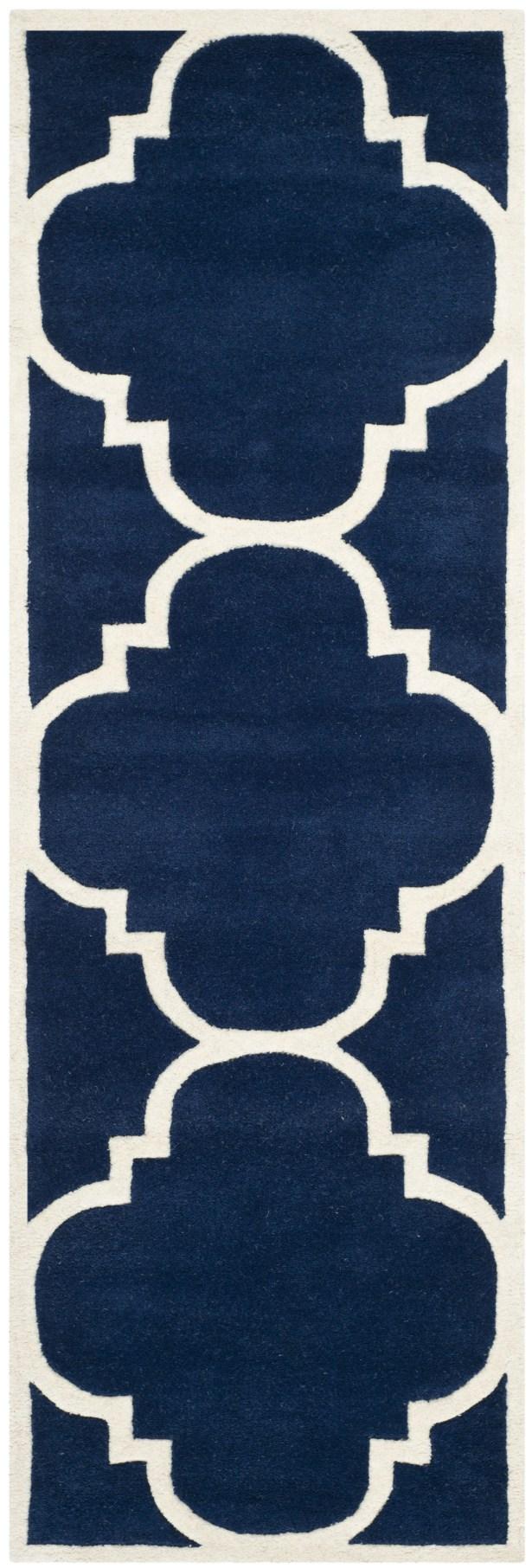 Wilkin Hand-Woven Dark Blue Area Rug Rug Size: Runner 2'3