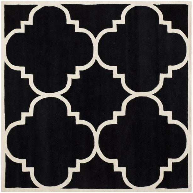 Wilkin Hand-Tufted Black/Ivory Area Rug Rug Size: Square 7'