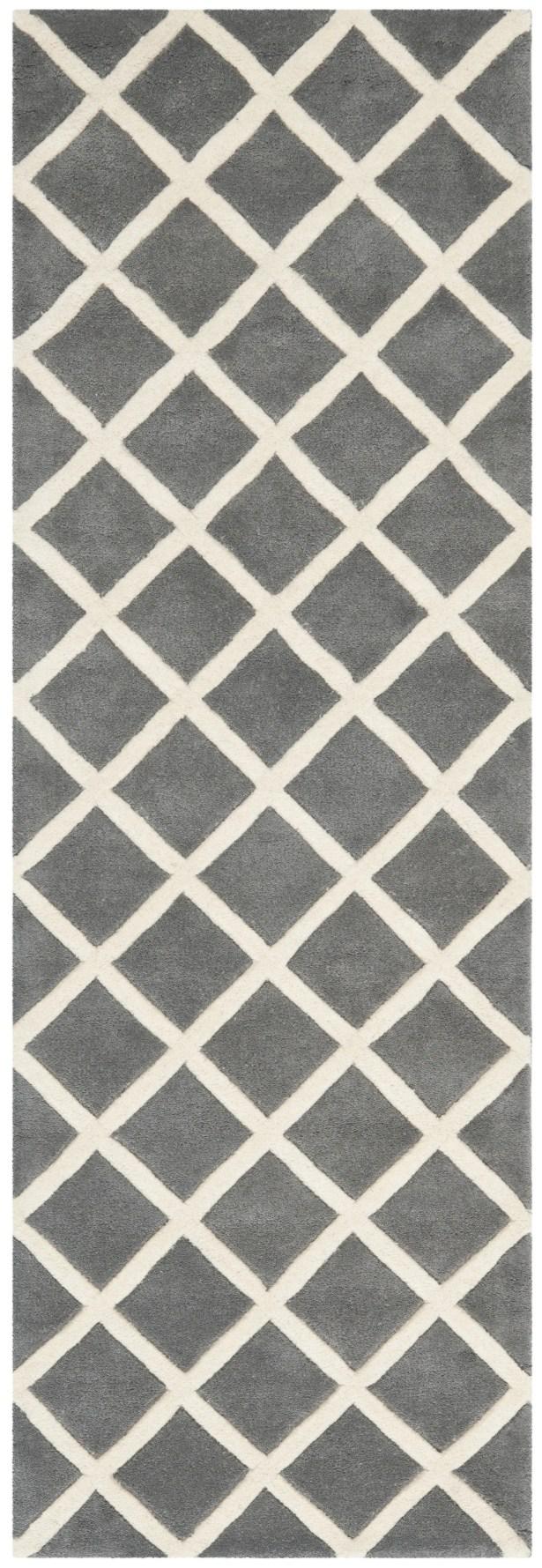 Wilkin Hand-Tufted Dark Gray/Ivory Area Rug Rug Size: Runner 2'3
