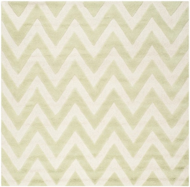 Charlenne Hand-Tufted Light Green/Ivory Area Rug Rug Size: Square 6'