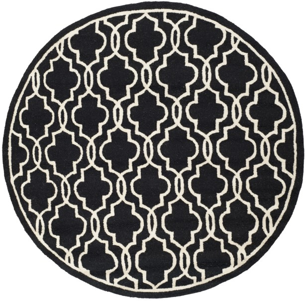 Martins Hand-Tufted Wool Black Area Rug Rug Size: Round 6'