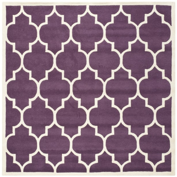 Wilkin Hand-Tufted Purple/Ivory Area Rug Rug Size: Square 7'