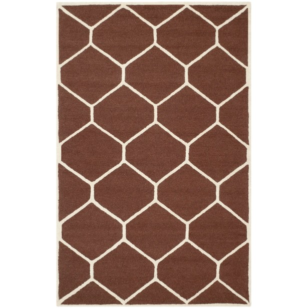 Martins Hand-Tufted Wool Dark Brown Area Rug Rug Size: Rectangle 4' x 6'