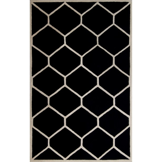 Martins Hand-Tufted Wool Black/Ivory Area Rug Rug Size: Rectangle 5' x 8'