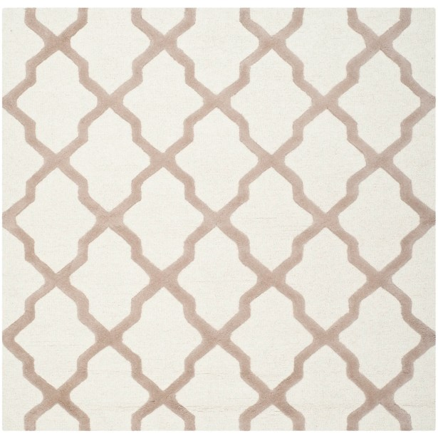 Charlenne Hand-Tufted Wool Ivory/Beige Area Rug Rug Size: Square 10'
