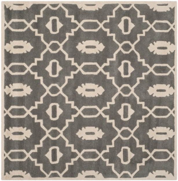 Wilkin Moroccan Hand-Tufted Wool Dark Gray/Ivory Area Rug Rug Size: Square 5'
