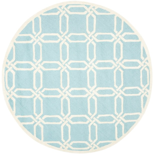 Martins Hand-Tufted Light Blue/Ivory Area Rug Rug Size: Round 6'