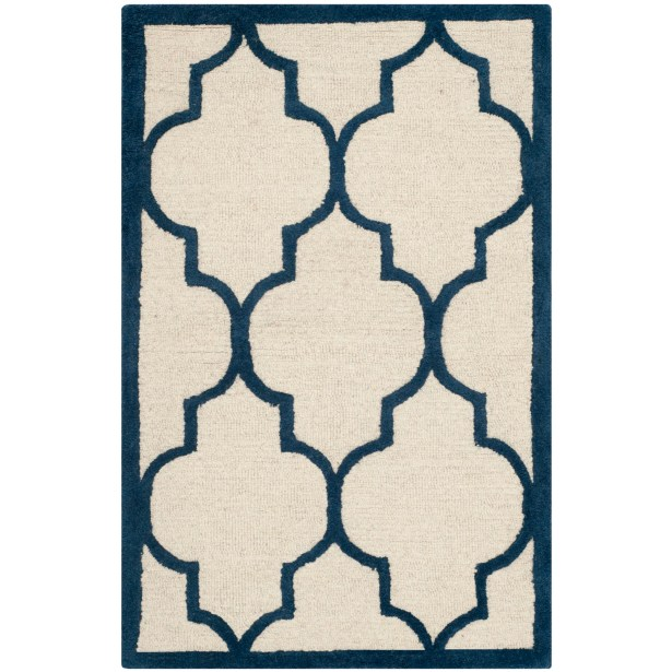 Charlenne Hand-Woven Wool Ivory / Navy Area Rug Rug Size: Rectangle 5' x 8'