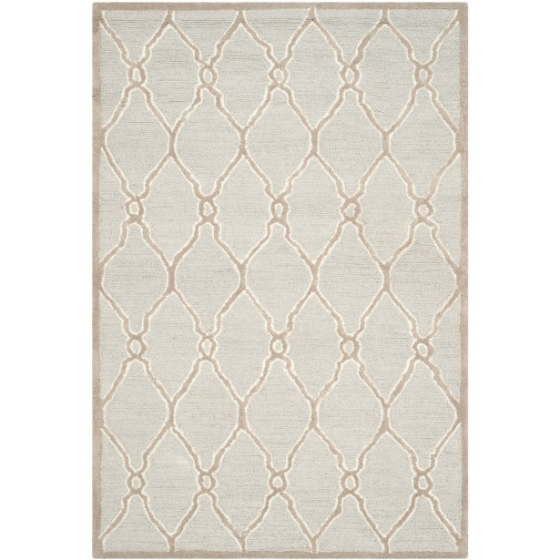 Martins Hand-Tufted Wool Light Gray/Ivory Area Rug Rug Size: Runner 2'6