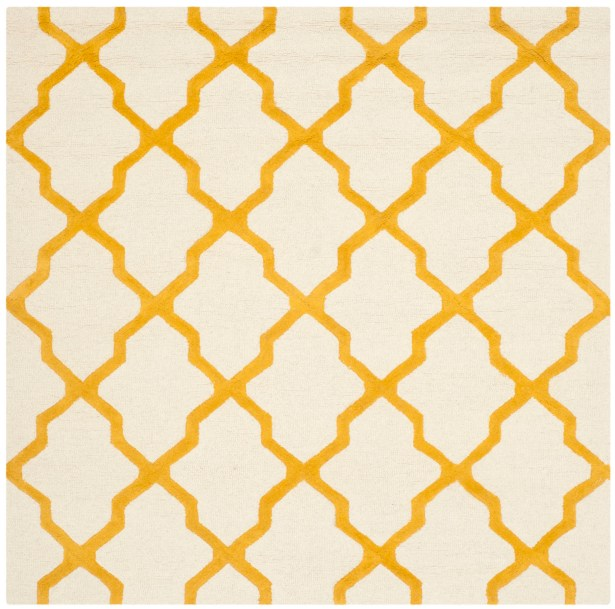 Charlenne Hand-Tufted Ivory/Gold Area Rug Rug Size: Square 6'