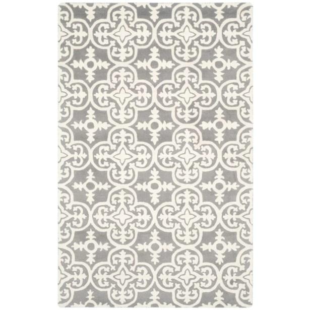 Wilkin Dark Grey / Ivory Contemporary Rug Rug Size: Rectangle 8' x 10'