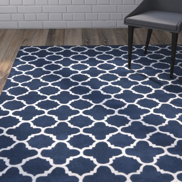 Wilkin Circle Dark Blue & Ivory Area Rug Rug Size: Rectangle 5' x 8'