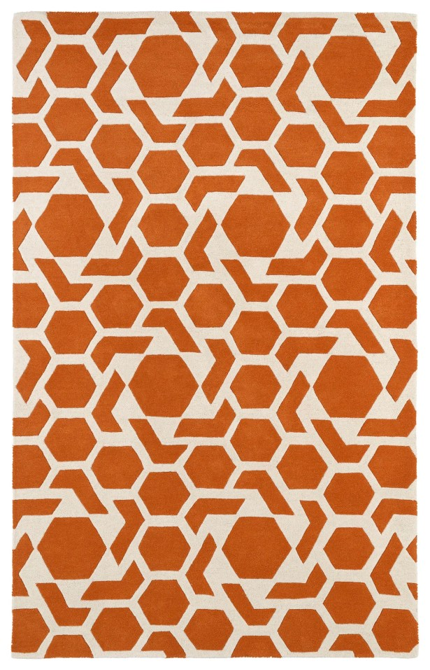 Fairlee Orange/White Area Rug Rug Size: Rectangle 9'6
