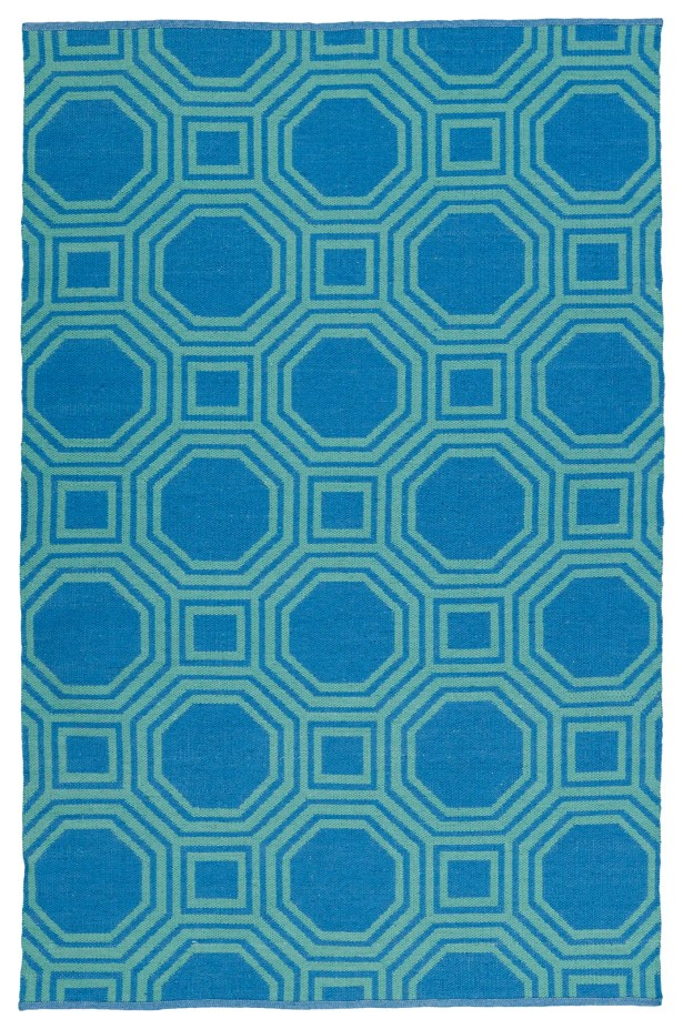 Littleton Green/Blue Indoor/Outdoor Area Rug Rug Size: Rectangle 3' x 5'