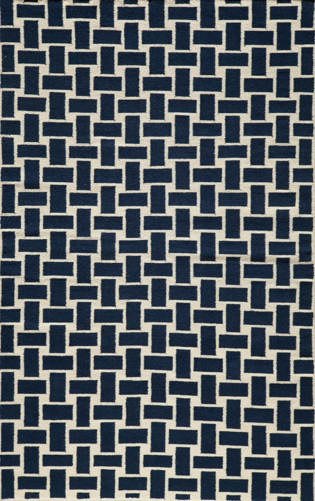 Hagler Hand-Woven Navy Area Rug Rug Size: Rectangle 5' x 8'