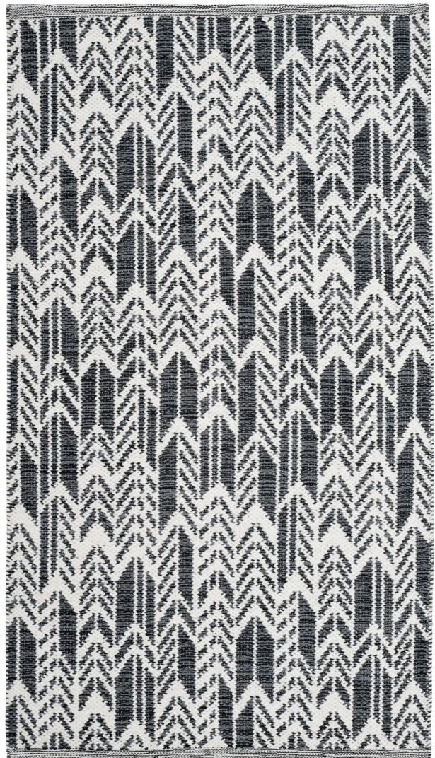 Paz Hand-Woven Black/Ivory Area Rug Rug Size: Rectangle 8' x 10'
