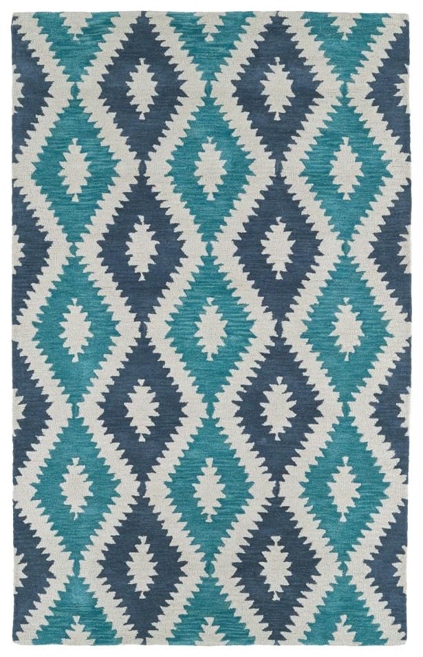 Hinton Charterhouse Hand-Tufted Turquoise Area Rug Rug Size: Rectangle 5' x 7'9