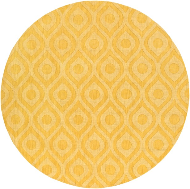 Castro Hand Woven Wool Yellow Area Rug Rug Size: Round 9'9