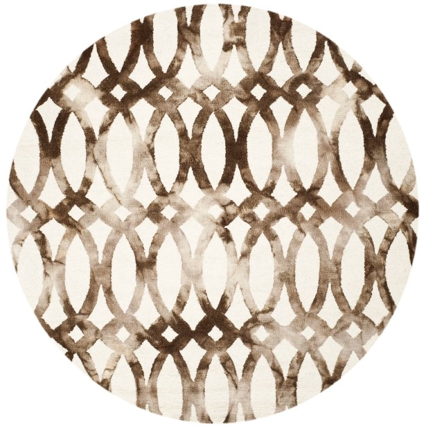 Edie Ivory/Cacao Area Rug Rug Size: Round 7'