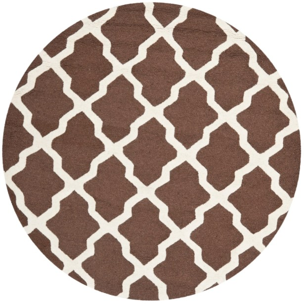 Charlenne Hand-Tufted Wool Dark Brown/Ivory Area Rug Rug Size: Round 6'